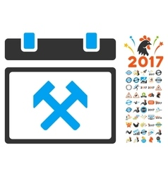 Working calendar day icon with 2017 year bonus vector