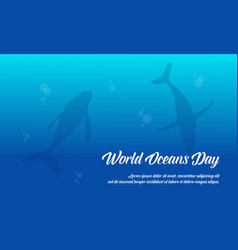 World ocean day with fish background vector