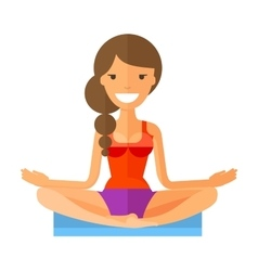 Young girl doing yoga isolated on white background vector