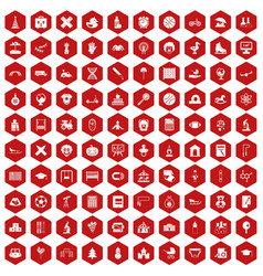 100 kids icons hexagon red vector image