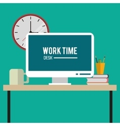 Worktime desk office supply design vector
