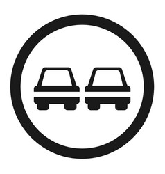 no overtaking prohibited sign line icon vector image