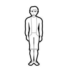 Black silhouette cartoon full body man with shorts vector