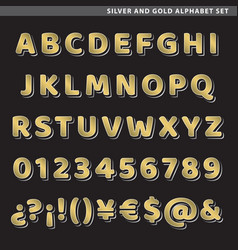 Silver and gold alphabet set vector