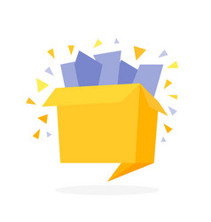 Origami style flat open gift box with confetti vector