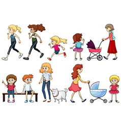 A group of young and adult ladies vector
