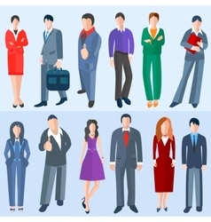 Set isolated business men and women vector
