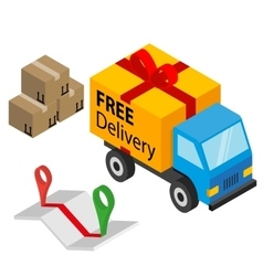 Delivery cargo with box map and pins vector