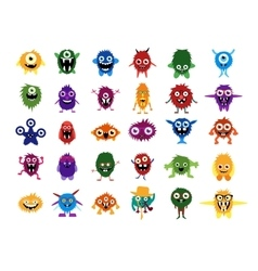 Cute monsters big set of cartoon monsters vector