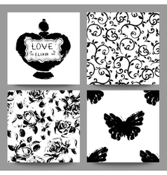 Gothic romantic cards collection scrap booking vector