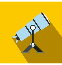 Telescope flat icon with shadow vector