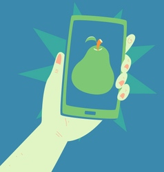 Hand holding a phone with a pear inside vector