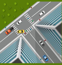 Top view on city crossroad vector