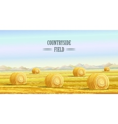 Countryside rural area fields with haystacks vector