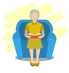 Grandma read book on chair vector