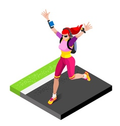 Marathon runners gym working out isometric 3d vector