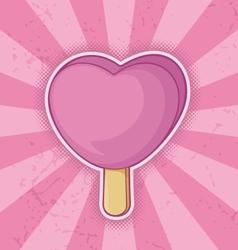 icecream pink heart vector image