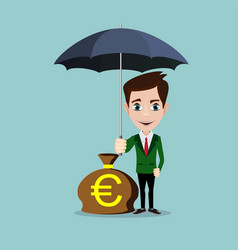 A businessman with beard standing holding umbrella vector