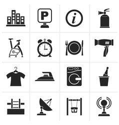 Black Hotel and travel icons vector image