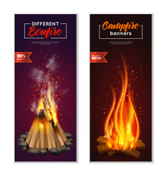 bonfire vertical banners set vector image vector image