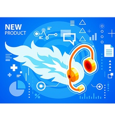 Bright fire and head phone on blue backgroun vector