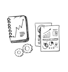Business notebook reports and gears vector image