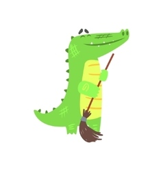 Crocodile sweeping floor with broom humanized vector