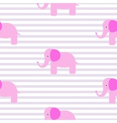 Cute pink elephant seamless pattern vector image vector image
