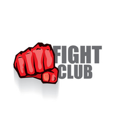 Fight club logo with red man fist isolated vector