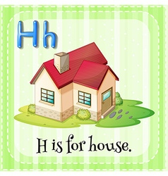 Flashcard letter h is for house vector