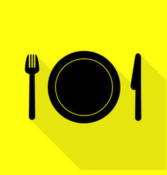 Fork plate and knife black icon with flat style vector