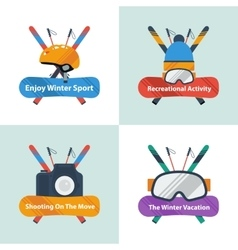 Four winter sport concept with text vector