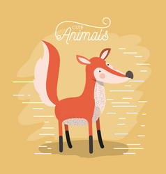 fox animal caricature in color background with vector image vector image