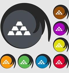 Gold icon sign symbols on eight colored buttons vector
