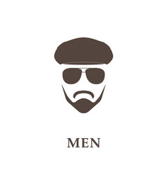 head of bearded man with tweed cap and sunglasses vector image