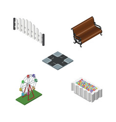 isometric architecture set of sitting recreation vector image vector image