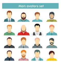 Man avatars set in flat style vector