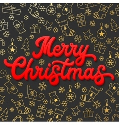 Merry christmas red 3d xmas lettering inscription vector
