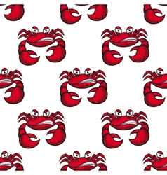 Seamless pattern of angry red crab vector image