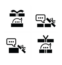 Set black gift and bubble talk icons 4 styles vector