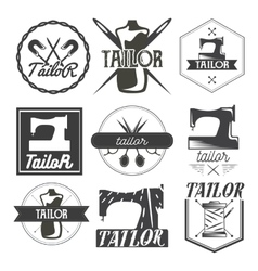 set of vintage sewing logo design elements vector image