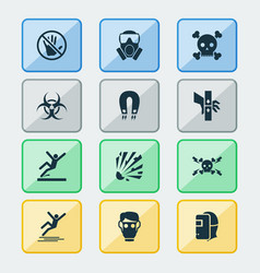 Sign icons set with caution icy surface welder vector
