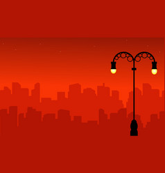 Street lamp with city silhouette landscape style vector