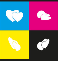 Two hearts sign white icon with isometric vector