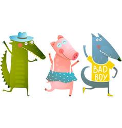 Cute Baby Animals Crocodile Pig Wolf Dancing vector image