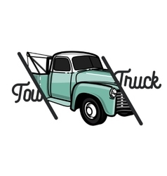Color vintage car tow truck emblem vector