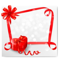 Holiday background with red heart-shaped gift box vector
