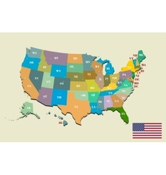 Colorful usa map with states and capital cities vector