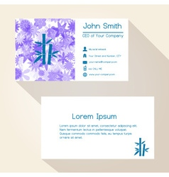 Blue floral and bamboo business card design eps10 vector