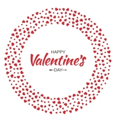 Red hearts circle frame valentines day card vector